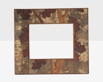 folk art carved bark frame, primitive wood frame, folk art frame, carved bark frame , folk art carved frame, bark frame, antique frame