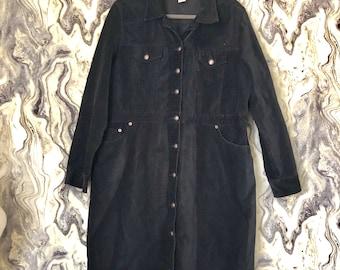Vintage St Johns Bay Black Corduroy Long Sleeve Button Dress Sz XL 100% Cotton