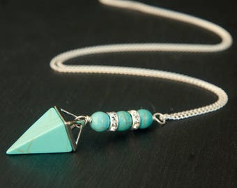 turquoise necklace, turquoise jewelry, turquoise pendant, turquoise stone, crystal necklace, crystal point, turquoise point,  turquoise