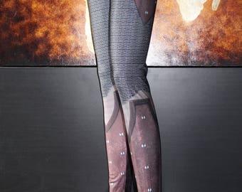 TAFI Chain Armor Leggings - Chainmail & Leather Fantasy Armour Costume Yoga Pants 2018 Black Milk Galaxy CosPlay Print