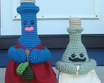 Crocheted Bottles - Mr. French and Olive Oil - Pattern (PDF)