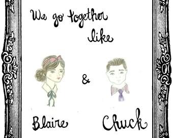 Gossip Girl Print (Blair Waldorf + Chuck Bass)