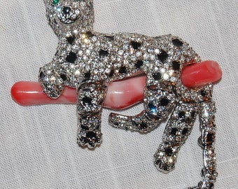 Vintage Leopard Lucite Figural Brooch Magnificent Rhinestone Jeweled Huge Pin