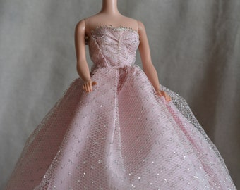 Vintage Barbie Clone Pink Taffeta Silver Net  Gown, Button Closure