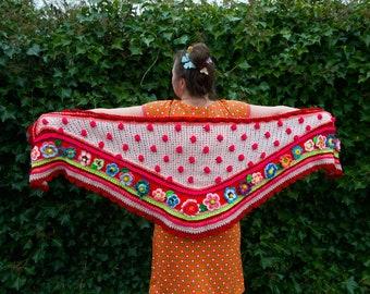 Crocheted Shawl Ibizastyle polleviewrap polka dots crochet stole flower scarf