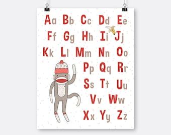 Sock Monkey Alphabet Art Printable Learning Letters Hearts Neutral Nursery Playroom Art Red Nursery Instant Download Uppercase Lowercase