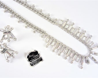 Vintage Clear Baguette Rhinestone Necklace and Earrings Jewelry Set