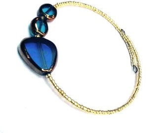 Bracelet - Beaded Wire Bangle - Gold, Cobalt and Aqua - One size fits all