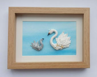 Swan wall art, Swan lake, Swan sculpture, Mum and Baby, Swan and Cygnet, swan decor, fairy tale art, Ugly Duckling, Mother's Day gift