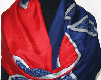 Silk Scarf Hand Painted Red Dark Blue Silk Shawl MIDNIGHT BLUES, by Silk Scarves Colorado. Select Your SIZE! Birthday Gift, Anniversary Gift