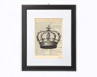 Crown print-royal crown print-crown dictionary print-crown book art-victorian print-gift for her-holiday gift-wedding gift-NATURAPICTA-DP090