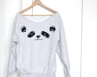 Panda Off Shoulder Sweater Off Shoulder Sweatshirt Drawing Off Shoulder Top Cute Sweatshirt Slouchy Sweater Panda Sweater Panda Off Shoulder
