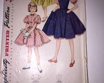 Vintage 1950's SIMPLICITY Pattern #3837 Size 8 Girls Dress