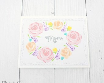Mothers Day Card, Card For Mom, Happy Mothers Day, Mom Floral Wreath, Handmade Greeting Cards, WPlus9