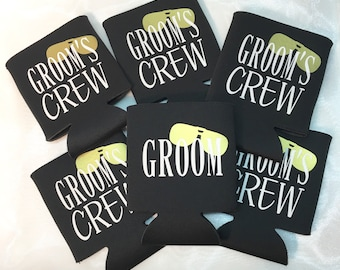 Bachelor Party Favors - Grooms Crew - Party Decor - Groomsmen Gift - Personalized Can Sleeve - Party Favor - Wedding Shower - Can Coolie