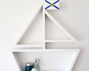 Custom Flag Sailboat Shelf, Nautical Nursery Decor, Kids Room, Nursery Wall Art, Baby Boy, Coastal Theme, Bathroom Decor, Baby Shower Gift