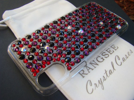 iPhone X case, 4 color case  Purple Amethyst, Black, Red Siam & Crystal AB Crystals on Clear Rangsee Crystal Cases
