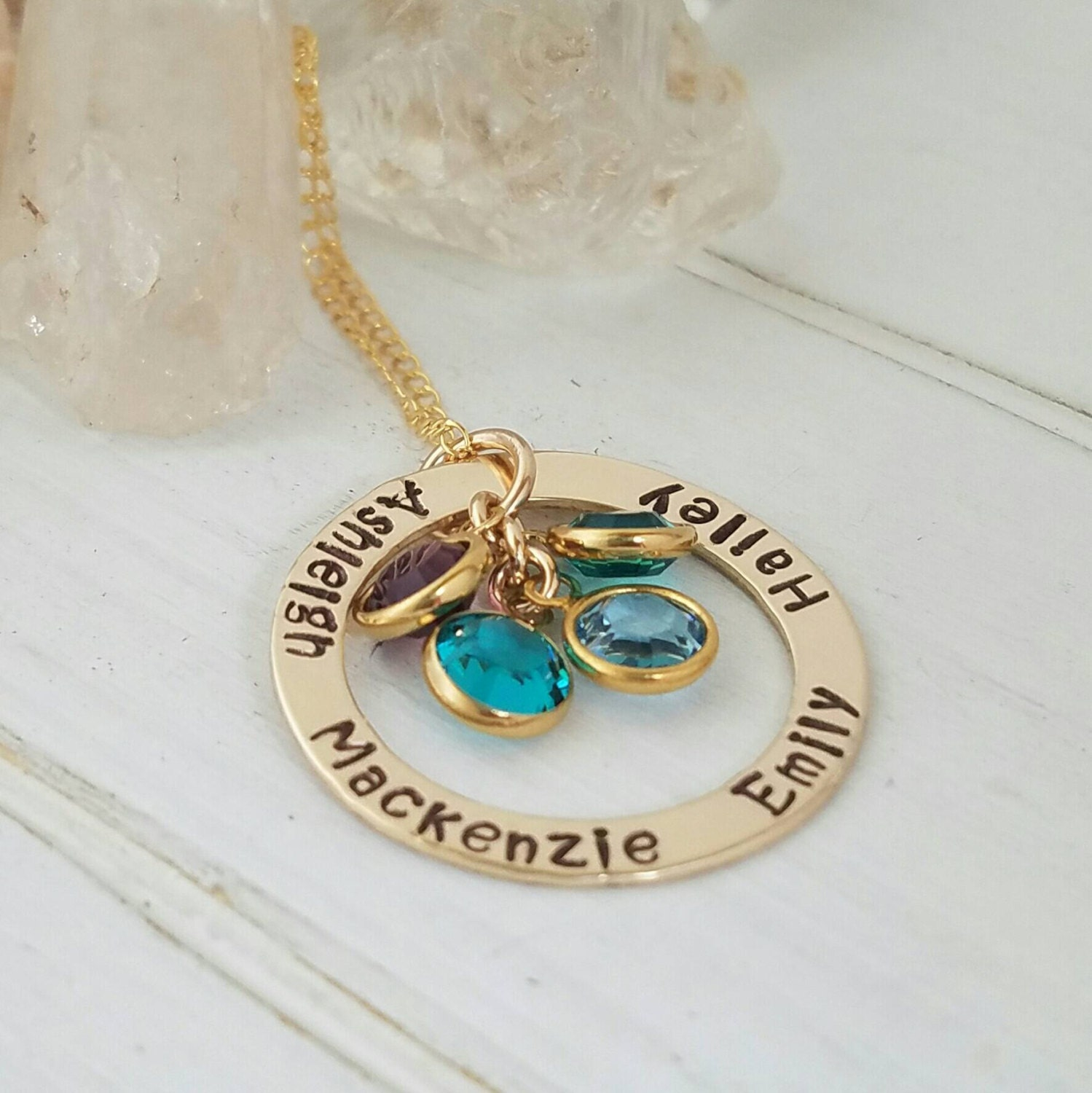 birthstones infinity names necklace name with