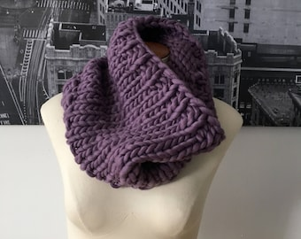 hand-knit chunky cowl - wisteria