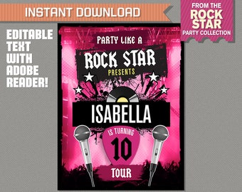 Rockstar Party Welcome Sign - INSTANT DOWNLOAD - Rockstar Birthday - Rockstar Welcome Sign - Edit and print at home with Adobe Reader