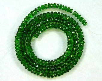 "Chrome diopside faceted rondelle beads AAA 3-5mm 17.5"" strand"