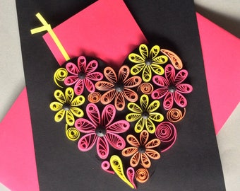 Unique Quilled Flower Heart Card