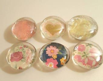 Shabby Chic Glass Magnet Set
