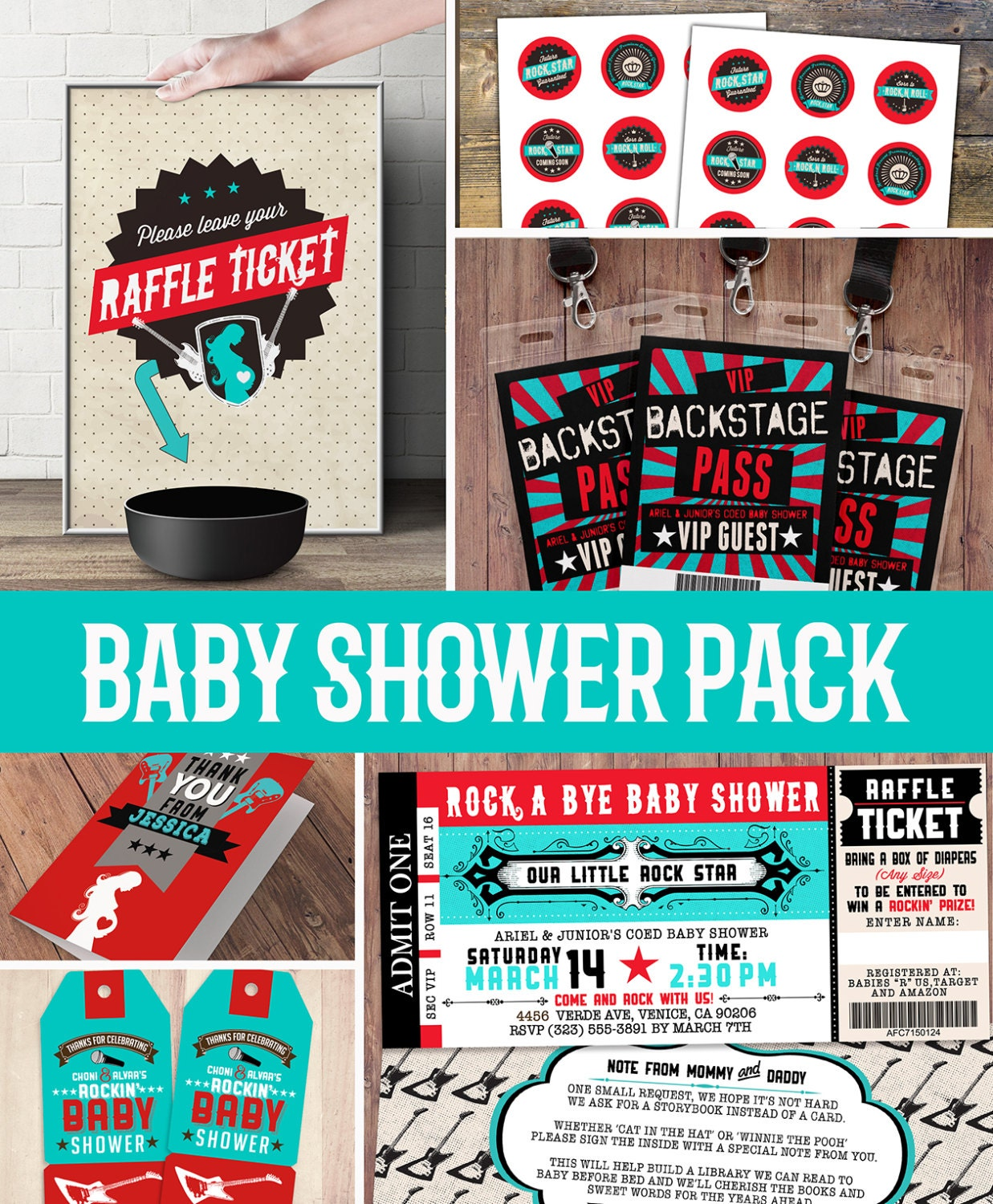Party pack party decorations Coed baby shower invitation rockstar