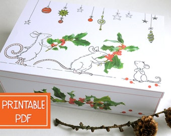 Printable Gift Box- Happy MOUSE -Christmas Gift Wrap, Digital PDF, Instant Download, DIY, Child, Wrapping, Paper Craft, Large gift box