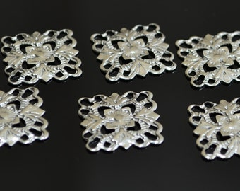 24 Pcs Silver Tone  Filigree 15 x 15 mm Square Findings