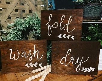 Wash Dry Fold Laundry Sign | Farmhouse | Rustic Laundry Room