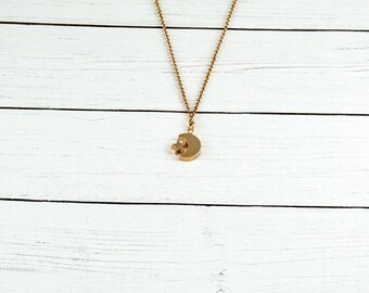 Moon and Stars Necklace, Simple Necklace, Delicate Necklace, Layering Necklace,