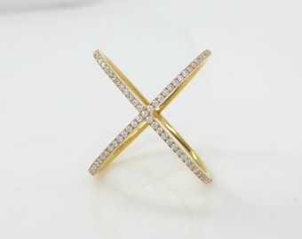 Micro Pave Diamond X Ring band in 18k Yellow Gold