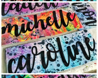 Personalized Hand-dyed & Hand-lettered shaker bookmark (ALWAYS AVAILABLE)