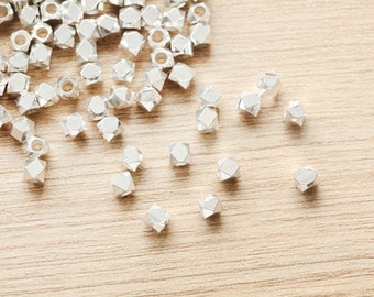 25 pcs of Geometric Polygon Silver Plated color Brass Jewelry Beads - 5mm