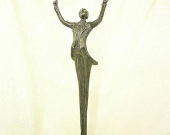 """bronze .sculpture """"run"""" height 48 cm"""