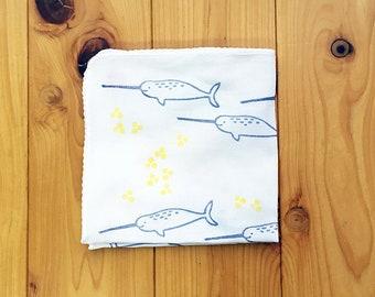 narwal handkerchief | kids animal hankie | cotton hand wipe | eco friendly baby nose wipe | hand printed textile | birthday gift