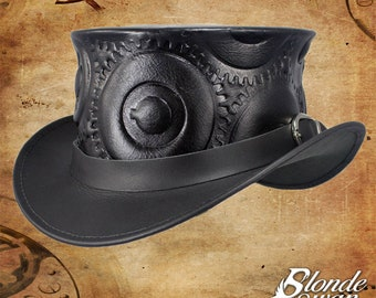 SALE! Steampunk Gear Leather Top Hat