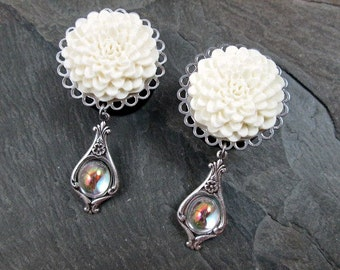 "Wedding Dangle Plugs - 7/8"" 22mm - 1"" 25mm Gauges - Flower Plugs - Large Wedding Gauges - Plug Earrings"