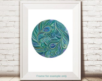 Peacock Feather A4 Print, Peacock Feather Giclee, Feather Print, Peacock Print, Peacock Art, Home Decor, Turquoise Eye, UK Seller