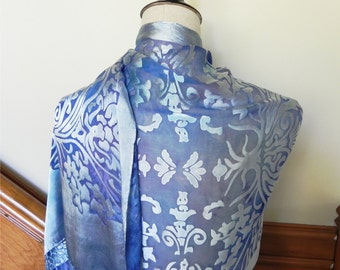 Hand dyed Devore satin shawl in blue and lilac purple art nouveau shawl silk satin scarf shawl #505 is ready to ship
