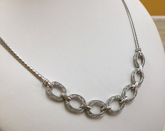 Vintage 925 Sterling Silver Necklace With Small Cubic Zirconia!!! Free US Shipping!!!