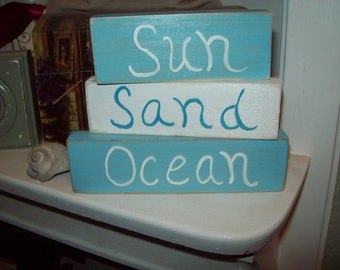 Shabby Beach decor sun sand ocean shelf sitter signs,coastal decor, Beach cottage,shabby chic,Beach bedroom decor,Beach bathroom