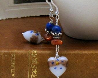 Lapis Sunstone Heart Boho Dangle Earrings Murano Venetian  Glass  Girlfriend Gift, For Her Under 125