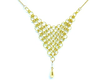 Gold Chainmaille Statement Bib Necklace