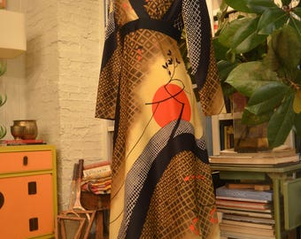 Vintage 1970s Tori Richard Asian print long sleeve empire waist maxi dress S small op art