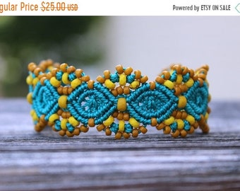 SALE Micro-Macrame Beaded Cuff Bracelet - Teal and Gold