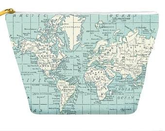 World Map pencil case, aqua and cream, makeup bag, travel, wanderlust, back to school, zipper pouch bag T-bottom, gift