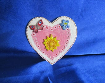 Lovers Pink Token Heart, Handmade and painted.