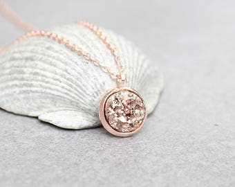 Rose Gold Druzy Necklace, Rose Gold Necklace, Faux Druzy Necklace, Rose Gold Bridesmaid Necklace, Bridesmaid Gift, Maid of Honor Gift